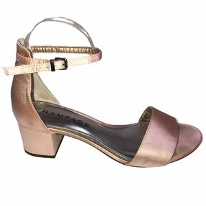 Rampage Blush Satin Stacked Block Heel Dress Shoe